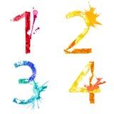 Wektorowa farby pluśnięcia chrzcielnica 1,2,3,4 Zdjęcia Royalty Free