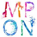 Wektorowa farby pluśnięcia chrzcielnica M, N, O, P Zdjęcie Royalty Free