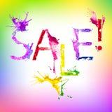 Wektorowa farby pluśnięcia inskrypci sprzedaż Zdjęcie Stock