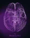 Wektorowa fiołkowa ilustracja 3d mózg wierzchołek z synapses i rozjarzonymi neuronami Konceptualny wizerunek pomysłu narodziny lu ilustracja wektor