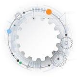 Wektorowa futurystyczna technologia, 3d białego papieru przekładni koło na obwód desce Zdjęcia Stock