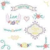 Wektorowa grafika ustawiająca faborek, strzała, serca, wianki, kwiaty i róże ślubu projekta elementów, royalty ilustracja