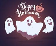 Wektorowa Halloween ilustracja biali latania trzy duchy z royalty ilustracja