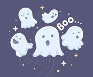 Wektorowa Halloween ilustracja wiele biali latający duchy z e ilustracji