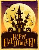 Wektorowa Halloweenowa ilustracja kasztel przeciw księżyc ilustracja wektor
