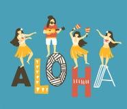 Wektorowa Hawaii ilustracja Lata tło z dancingowymi dziewczynami, mężczyzna bawić się ukulele i tekst - ALOHA jaskrawy projekt ilustracja wektor