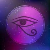 Wektorowa Horus oka ilustracja na Pozaziemskim Bacground royalty ilustracja