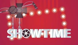 Wektorowa horyzontalna ilustracja dedykował film i tv przedstawienia produkcja Ampuły 3d słowa showtime, kinowi światła reflektor Zdjęcia Royalty Free