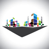 Wektorowa ikona - budynek domowy mieszkanie, super rynek lub offi Zdjęcie Royalty Free