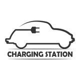 Wektorowa ikona dla elektrycznego pojazdu ładuje staci Elektryczny samochód podładowywa ikonę Zdjęcia Royalty Free