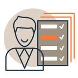 Wektorowa ikona lista kontrolna przegląd, ankieta raport z checkboxes i szczęśliwa osoba, Mieszkanie linii projekta styl ilustracji