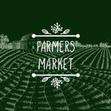 Wektorowa ikona: Rolnicy Wprowadzać na rynek, Rolnego pola Kredowy rysunek i literowanie w Doodle ramie royalty ilustracja