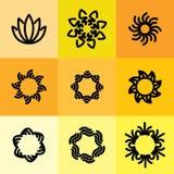 Wektorowa ikona ustawiająca abstrakt ramy & logów szablony w kreskowym stylu Obrazy Royalty Free