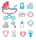Wektorowa ikona ustawiająca dla tworzyć infographics odnosić sie poród i nowonarodzeni dzieci jak dziecko dzwonią, spacerowicz, b royalty ilustracja