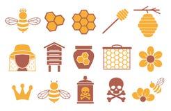 Wektorowa ikona ustawiająca dla tworzyć infographics odnosić sie pszczoły, zapylanie i beekeeping jak, miodowy słój, kwiat i hone ilustracja wektor