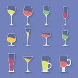 Wektorowa ikona ustawiająca naczynie Wina piwo Martini ilustracja wektor