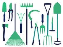 Wektorowa ikona ustawiająca z różnym ogrodnictwem wytłacza wzory ikony jak łopata, ax, świntuch, kosa lub gnojowy rozwidlenie, royalty ilustracja