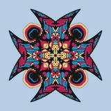 Wektorowa ikona z abstrakcjonistycznym ornamentem Wektorowy mandala z kątami w dziecięcym stylu Ornamentacyjna doodle czerwień, k ilustracji