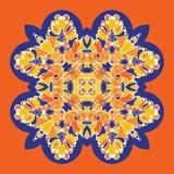 Wektorowa ikona z abstrakcjonistycznym ornamentem Wektorowy mandala z kątami w dziecięcym stylu Ornamentacyjna doodle pomarańcze, royalty ilustracja