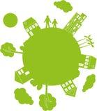 Wektorowa ilustraci zieleni planeta Obraz Stock