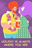 Wektorowa ilustracja śliczna para obejmuje koktajl na tle drzewka palmowe i pije royalty ilustracja