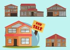 Wektorowa ilustracja Ślicznej kreskówki Kolorowi domy dla sprzedaży lub czynszu Wektorowi płascy budynki ilustracyjni Obrazy Stock