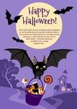 Wektorowa ilustracja śliczny latający czarny nietoperz niesie wiadro Zdjęcie Royalty Free