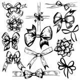 Wektorowa ilustracja świętowanie Kłania się wystrojów czarny i biały doodles ustawiających Elementy odizolowywający na białym tle ilustracji