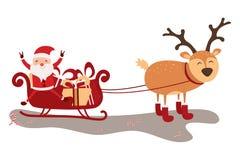 Wektorowa ilustracja Święty Mikołaj latanie z rogaczem Obrazy Stock