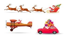 Wektorowa ilustracja Święty Mikołaj latanie z rogaczem royalty ilustracja