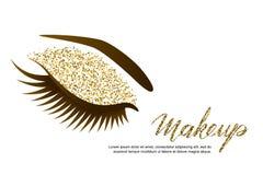 Wektorowa ilustracja żeński oko z długimi rzęsami i luksusowym makeup Złoci błyskotliwość eyeshadows, modny makeup royalty ilustracja