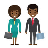 Wektorowa ilustracja afro amerykańscy biznesmena i bizneswomanu charakterów wi Zdjęcia Royalty Free