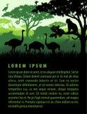 Wektorowa ilustracja afrykański sawanna safari krajobraz z przyrod zwierząt sylwetek zmierzchu projekta szablonem ilustracji