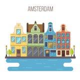 Wektorowa ilustracja Amsterdam pejzaż miejski Obrazy Royalty Free