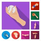 Wektorowa ilustracja animowany i kciuk symbol Set animowana i gest wektorowa ikona dla zapasu ilustracji
