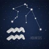 Wektorowa ilustracja Aquarius 3D gwiazdozbiór i symbol Zdjęcie Royalty Free