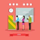 Wektorowa ilustracja ATM, ludzie stoi w kolejce dla gotówki Ilustracji