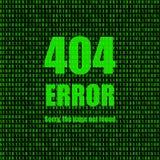 Wektorowa ilustracja: Błąd 404, Wzywa Znajdujący, Binarny tło z wiadomością, ilustracji