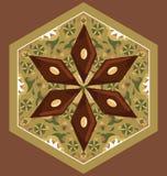 Wektorowa ilustracja baklava na heksagonalnym talerzu z tradycyjnym wzorem Zdjęcia Royalty Free