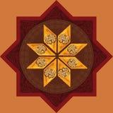Wektorowa ilustracja baklava na heksagonalnym talerzu z tradycyjnym wzorem Obrazy Royalty Free