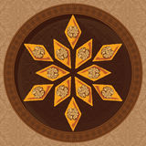 Wektorowa ilustracja baklava na round talerzu z tradycyjnym wzorem Zdjęcia Royalty Free