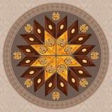 Wektorowa ilustracja baklava na round talerzu z tradycyjnym wzorem Obraz Royalty Free