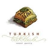 Wektorowa ilustracja baklava z pistacjami Obrazy Royalty Free