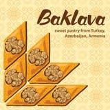 Wektorowa ilustracja baklava z tradycyjnym wzorem Zdjęcia Stock