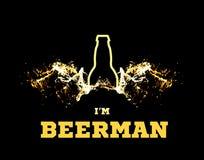 Wektorowa ilustracja beerman z piwem uskrzydla w postaci pluśnięć i sylwetki butelka Ilustracja Wektor
