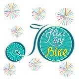 Wektorowa ilustracja bicykl Lubię mój rower wpisowy Zdjęcie Stock