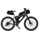 Wektorowa ilustracja bikepacking rower czarna sylwetka ilustracji