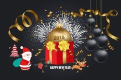 Wektorowa ilustracja bożego narodzenia 2018 tło z Santa Claus Bożenarodzeniowy confetti złoto, rogacz i Obraz Stock