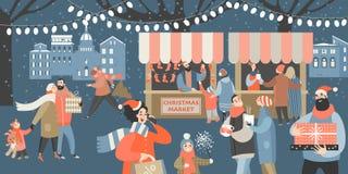 Wektorowa ilustracja Bożenarodzeniowy rynek z ludźmi robi zakupy, pije rozmyślającego wino i ma odpoczynek z ich rodziną, kresków royalty ilustracja