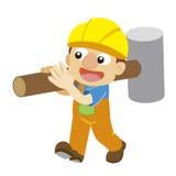 Wektorowa ilustracja budowniczy w żółtym hełmie ilustracji